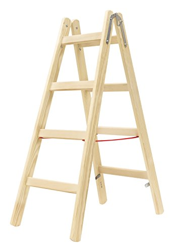 Hymer houten ladder 2x4 sporten (ladder aan beide zijden beloopbaar, spreidbeveiliging, stabiele emmerhaken) 7141008