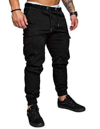 HAHAEMMA Herren Hosen Slim Fit Cargo Chino Casual Jogger Sporthose Freizeithose Jeans Hose mit Taschen Joggers Activewear Hosen Stretch Schwarz Herbst Winter M-4XL(BL,M)