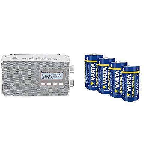 Panasonic RF-D10EG-W Digitalradio (DAB+/UKW Tuner, Netz- & Batteriebetrieb) weiß und Varta Industrial Alkaline Batterie Baby C/LR14 (4er-Pack)