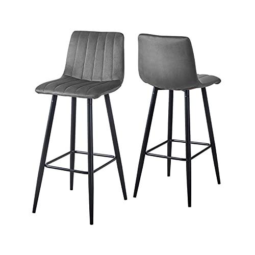KJ Barstühle 2 Set Modern barhocker mit lehne Samt Küchenhocker stabile Metallbeine weicher Rückenlehne Bequeme Counter Stühle Tresenhocker Barstühle,Grau