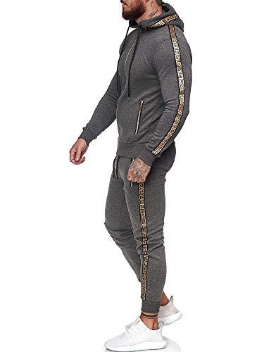 Code47 | Herren Trainingsanzug | Jogginganzug | Sportanzug | Jogging Anzug | Hoodie-Sporthose | Jogging-Anzug | Trainings-Anzug | Jogging-Hose | Modell JG-1424 Antrazit S