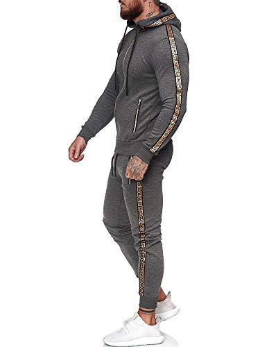 Code47 | Herren Trainingsanzug | Jogginganzug | Sportanzug | Jogging Anzug | Hoodie-Sporthose | Jogging-Anzug | Trainings-Anzug | Jogging-Hose | Modell JG-1424 Antrazit M