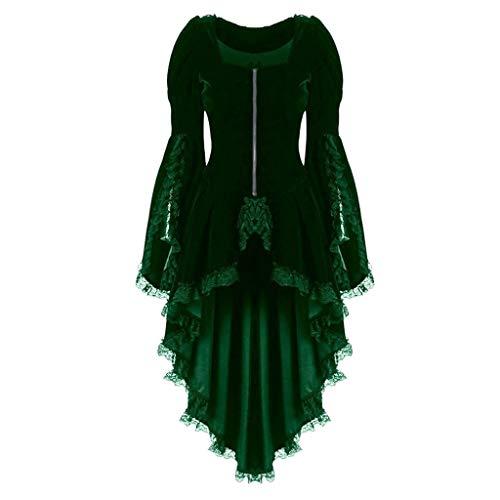 Auiyut Steampunk Damen Mantel Gothic Long Coat Frauen Vintage Langärmelige Taille Rücken Bandage Lace Stitching Jacke Retro Eleganter Smoking-Blazer Uniform Outwear