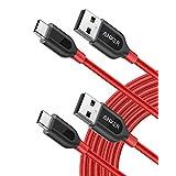 【2本セット】Anker PowerLine+ USB-C & USB-A 2.0 ケーブル (3.0m x 2 レッド) Galaxy S10 / S10+ / S9 / S9+/ S8 / S8+、iPad Pro (2018, 11インチ) / MacBook/MacBook Air (2018)、Xperia XZ1 その他Android各種、USB-C機器対応