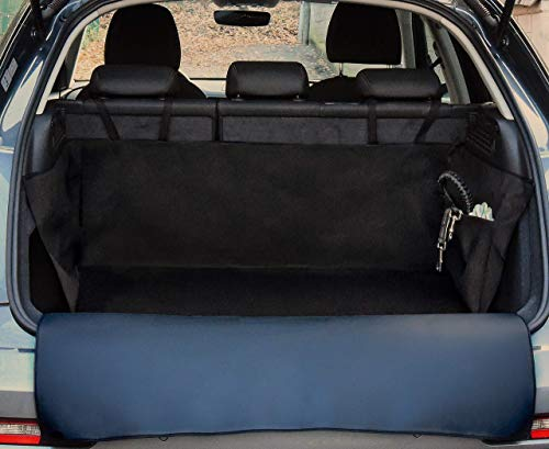 PaulePet Kunstleder Kofferraumschutz für Kompakt-SUV, Kleinwagen und Kompaktkombis, rutschfest, 165x100x40 cm, Seitentasche, Stoßstangenschutz, Hund wasserabweisend robust