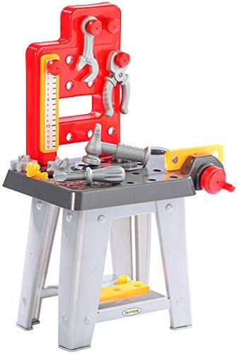 Playtastic Werkbank Kinder: Mini-Werkbank mit Werkzeugset, Höhe 60 cm, 30 Teile (Kinderwerkzeug)