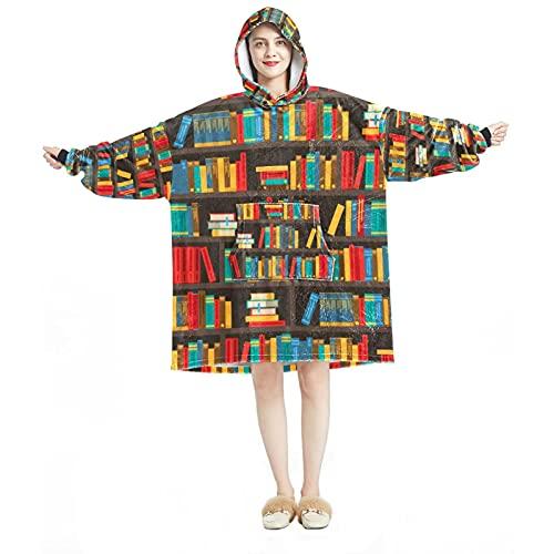 Manta con capucha, casual suave microfibra casera, camisón cálido para hombres y mujeres con estantes de libros, diseños coloridos decorativos