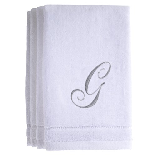 Monogrammed Towels Fingertip, Personalized Gift, 11 x 18 Inches - Set of 4- Silver Embroidered Towel - Extra Absorbent 100% Cotton- Soft Velour Finish - For Bathroom/ Kitchen/ Spa- Initial G (White) Iowa