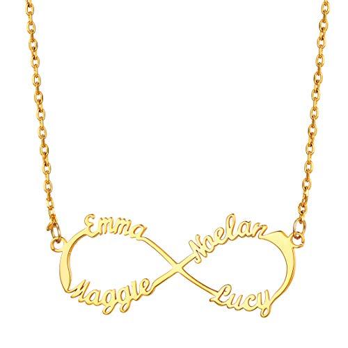 U7 Namen Kette Unendlichkeits Damen Mädchen 18k vergoldet Infinity Namenskette Collier mit personalisiert Namen schicke Schlüsselbeinkette Schmuck tolles Geschenk für Geburtstag