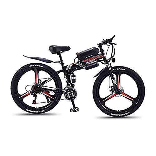 """Hyuhome Bicicletas de montaña eléctrica para Adultos, Plegable de MTB Ebikes Hombres Mujeres señoras, 360W 36V 8/10 / 13Ah Todo Terreno 26"""" Bicicleta de montaña/conmuta Ebike,Black One Wheel,13AH"""