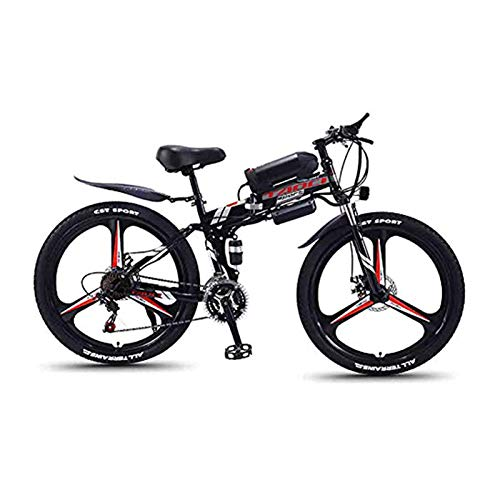 Hyuhome Mountain Bike Elettrico per Adulti, Pieghevole MTB Ebikes Uomo delle Signore delle Donne, 360W 36V 8/10 / 13Ah all Terrain 26' Mountain Bike/Commute Ebike,Black One Wheel,13AH