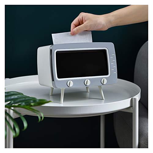 Portapañuelos de papel Papel de soporte de tejido de escritorio con forma de televisión retro La caja de tejido facial puede liberar sus manos para ver videos fácilmente plástico Dispensador de Pañuel