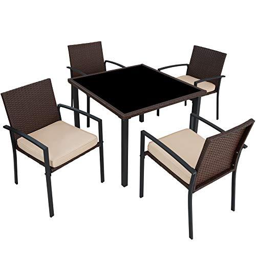 TecTake 800662 - Conjunto Muebles de Jardín Poliratán, Set 4 Sillas y 1 Mesa, Tornillos de Acero Inoxidable (Marrón | No. 403026)