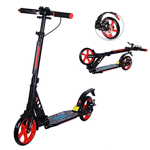 TENBOOM Kick Scooter Cityroller Adult Doppelfederung, großes Rad Aluminium Kick Roller klappbar Höhenverstellbar Kinder Scooter mit handbremse und Glocke