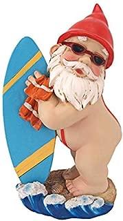 Garden Gnome Statue - Shredder Surfer Dude Gnome - Outdoor Garden Gnomes - Funny Lawn Gnome Statues