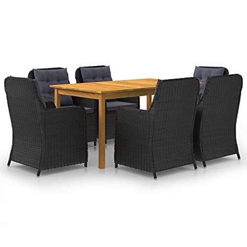 vidaXL Gartenmöbel Set 7-TLG. Sitzgruppe Gartengarnitur Sitzgarnitur Gartenset Tisch Stühle Gartensessel Sessel Gartentisch Schwarz