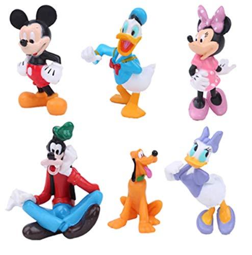 zdfgv 6 Piezas Juguetes Mickey Mouse Clubhouse Figura de acción Lindo Mini Mickey & Minnie & Pluto & Donald Duck PVC colección muñecas 7-9cm