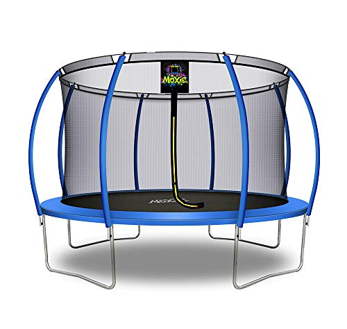 Moxie by Upper Bounce 12 FT Pumpkin-Shaped Outdoor Trampoline with Enclosure – Sturdy Top-Ring Enclosed Trampoline with Safety Pad | TUV Certified Backyard Trampoline for Kids – Blue