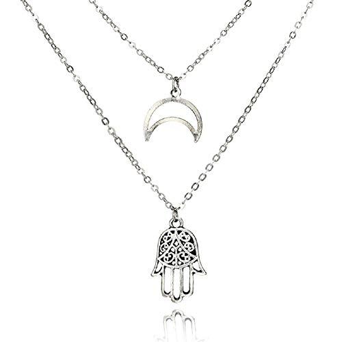 STRASS & PAILLETTES Collier Double Rangs Croissant de Lune argenté et Collier Main de fatma dans Une Pochette Cadeau