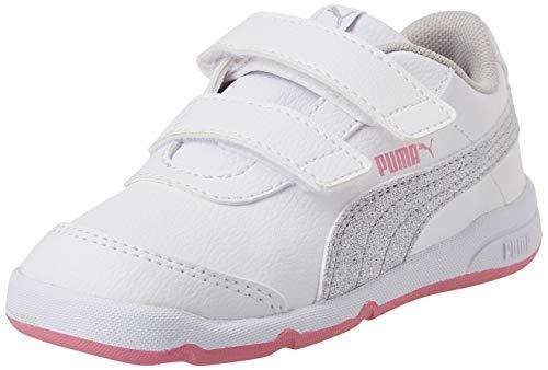 Puma Baby Mädchen STEPFLEEX 2 SL VE GLITZ FS V I Sneaker, White Silver-Sachet Pink, 26 EU