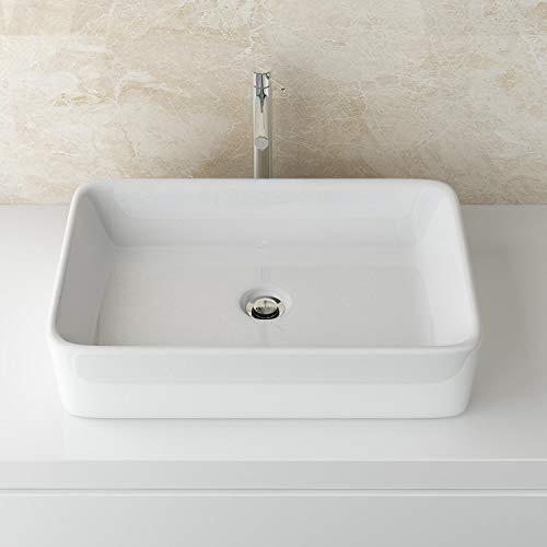 Aufsatzwaschbecken Waschschale Waschtisch Badezimmer Becken WS97 Keramik Eckig BxTxH: ca. 60,5x34,50x11cm