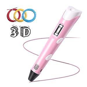 Pluma para Impresión 3D, Lápiz Inteligente 3D Pen Bolígrafo LCD Pantalla Temperatura Ajustable con Filamentos PLA compatibles ABS para Niños Adultos Gran Regalo de Reyes Navidad Cumpleaños