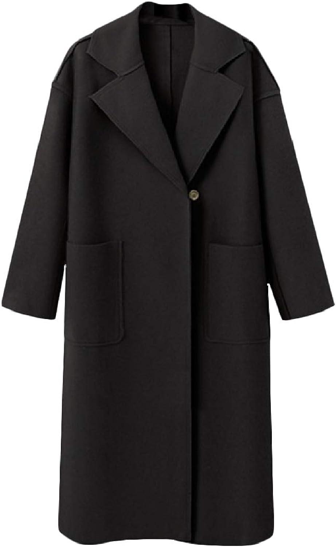 color&W Women's Baggy Lapel Solid Mid Long Pockets Buttons Woolen Coat