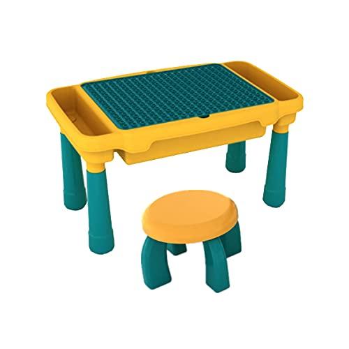 WANGCHAO Kinder 4 in 1 Play Build Table Set, Kindertisch und Stühle Sets für Innenbereich, Studientisch, Esstisch, Wasserspiel im Freien, Spielzeuglagerung, Beinhaltet Stühle,Tables and Chairs