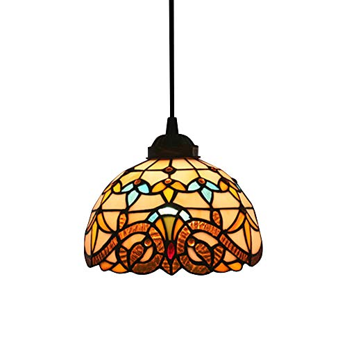 Vintage E27 Pendelleuchte Tiffany Stil Pendellampe Rund Rustic Bunt-Glas Lampenschirm Dekoration Hängelampe Höhenverstellbar Hängeleuchte Wohnzimmer Schlafzimmer Esszimmer Bar Cafe Theke,D20CM