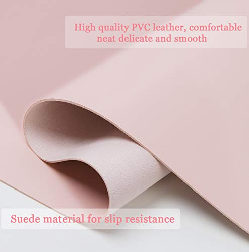 """Non-Slip Desk Pad,Mouse Pad,Waterproof PVC Leather Desk Table Protector,Ultra Thin Large Desk Blotter, Easy Clean Laptop Desk Writing Mat for Office Work/Home/Decor(Pink, 31.5"""" x 15.7"""") Photo #4"""