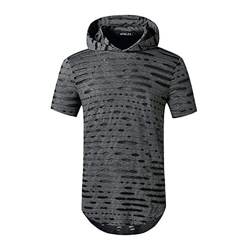 APAELEA Hombre Hooded Camiseta Manga Corta Moda Hip-Hop T-Shirt Color Sólido Romper Agujeros Gris S