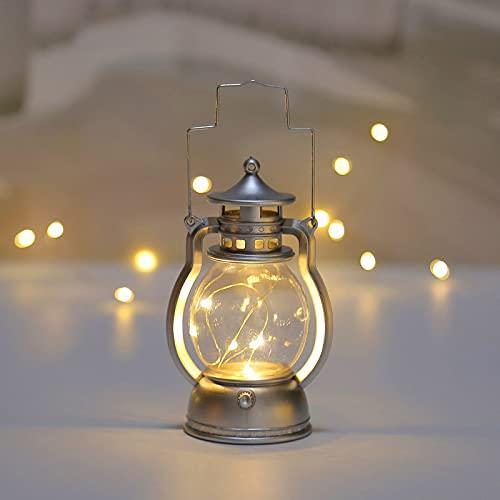 GHMPNLG Linterna de la vendimia Mini lámpara de aceite, lámpara de keroseno vintage eléctrica, lámpara de aceite de la linterna de moda antigua luz de noche, para la barra de navidad de Halloween, par