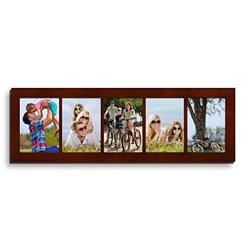 Adeco 5 Openings Decorative Walnut Wood Wall Hanging Divided Picture Photo Frame - Made to Display Five 5x7 Photos