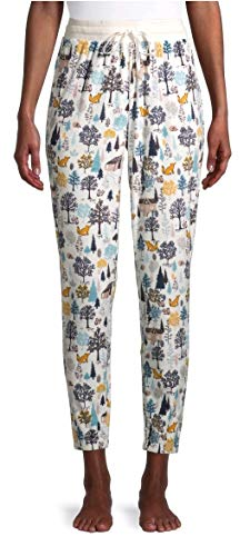 Forest Creatures Winter White Jogger Sleep Pants - Large