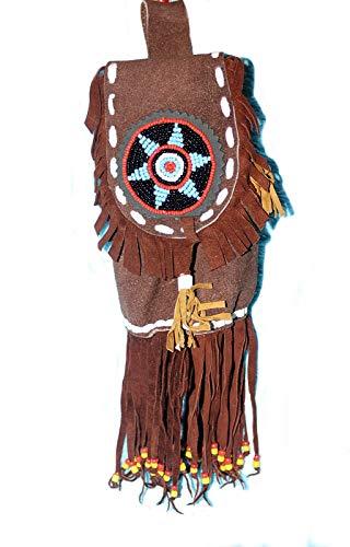 Hejoka-Shop Indianer Gürteltasche groß 30 x 10 cm. LEDER Perlenrosette Fransen Ledertasche Lederbeutel
