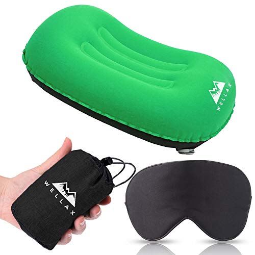 WELLAX Ultralight Camping Pillow - Compressible, Compact, Inflatable, Comfortable, Ergonomic Pillow for Neck & Lumbar Support and a Good Night Sleep While Camp, Backpacking