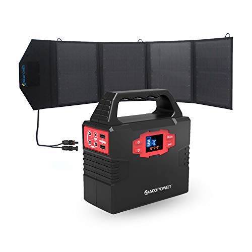 ACOPOWER 150Wh Portable Solar Generator with 50W Foldable Solar Panel Combo