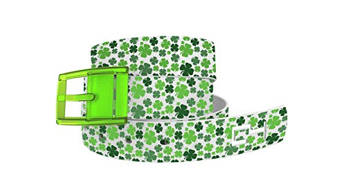 Shamrock Belt - Green Clovers with White Strap & Green Buckle by C4 Belts