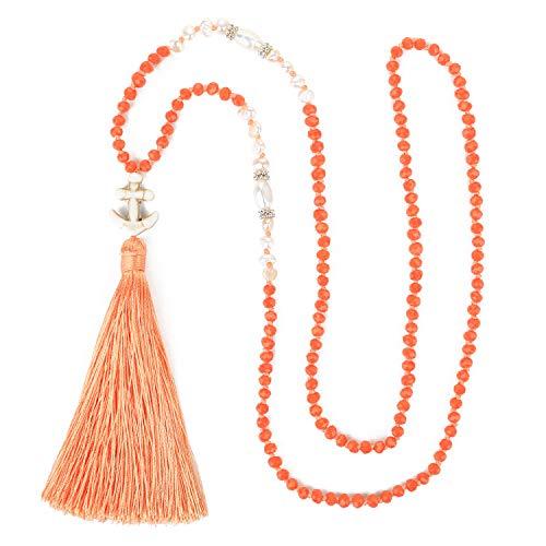 KELITCH Frau Abalone Ball Perlen Halsketten Exquisit Quaste Lange Kristall Halsketten Leuchtenden Kleidung Sweatshirt Ketten – Gelb