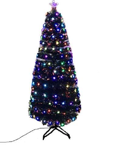 Hampton&Stewart STAR Shaped LED Fibre Optic Multicolour Xmas Tree Christmas 4ft-5ft-6ft-7ft (Black, 4FT)
