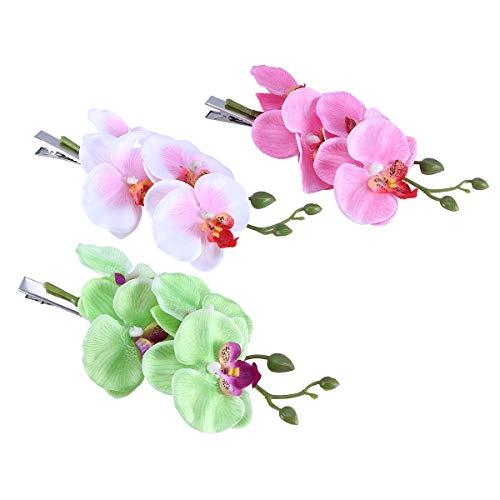 Lurrose Lot de 3 barrettes à cheveux orchidée pour fête de mariage