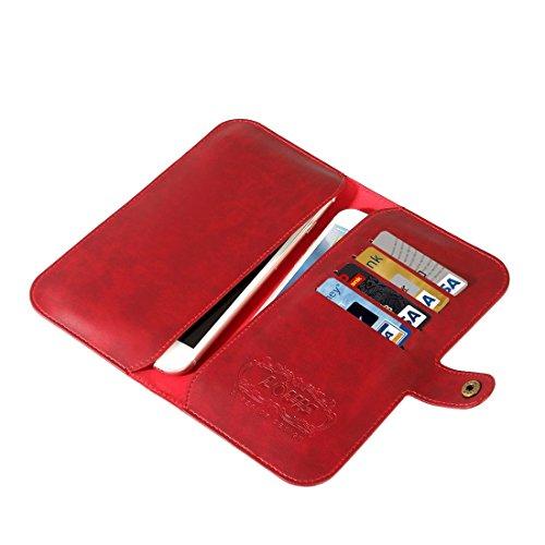 Funda de cuero para teléfono Estuche de cuero con solapa horizontal de almacenamiento Crystal Shipper de almacenamiento de doble capa para iPhone 7/6 e iPhone 7 Plus / 6 Plus con ranura para tarjeta y