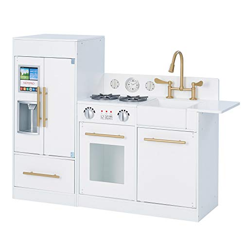 Teamson Kids Little Chef Chelsea Modern Play Kitchen Toddler Pretend 2 pcs Play Set with Accessories and Ice Maker White Gold