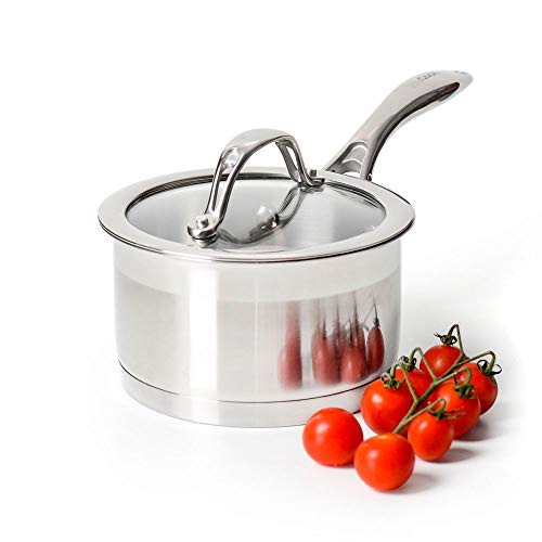 ProCook Professional Stainless Steel Saucepan with Lid - 14cm / 1.2L - Small Induction Pan with Toughened Glass Lid and Heat-Resistant Handles