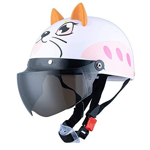 FairOnly Kinder-Helm mit Schutzbrille für den Sommer, niedlicher Cartoon-Helm, Fahrradfahrer, Schutzhelm mit Brille für Rollschuhe, Laufen, weiße Katze, braune Kurze Linse