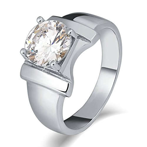 KnSam Anillo para hombre, anillo de titanio con lazo, redondo, de acero inoxidable, anillo de sello para hombre con circonita plateada con grabado gratuito, Acero inoxidable, Circonita cúbica.,