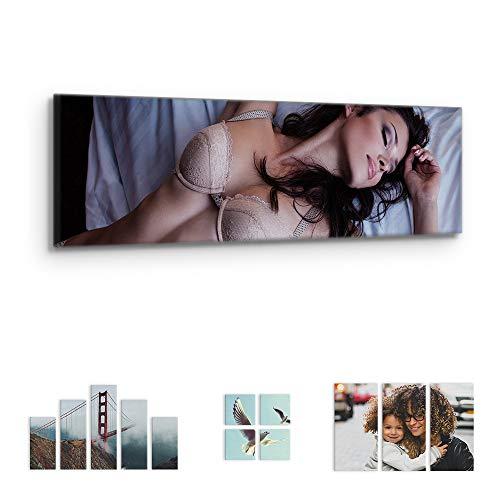 malango Foto auf Leinwand JETZT SELBST GESTALTEN - handgefertigt auf 2 cm Keilrahmen 1-Teiler Panorama 80 x 30 cm mit eigenem Foto