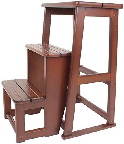 QTQZDD Steps Stool opvouwbare trapladder, trapstoel, houten ladder, trap, trapladder, rubber, hout, 3-Lar pedaal, opvouwbare planken, keuken, indoor, Ascend, Home Modern eenvoudig