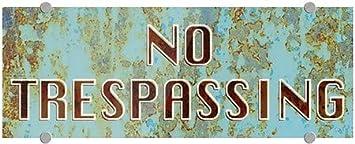 No Trespassing Ghost Aged Blue Premium Brushed Aluminum Sign 5-Pack CGSignLab 8x3
