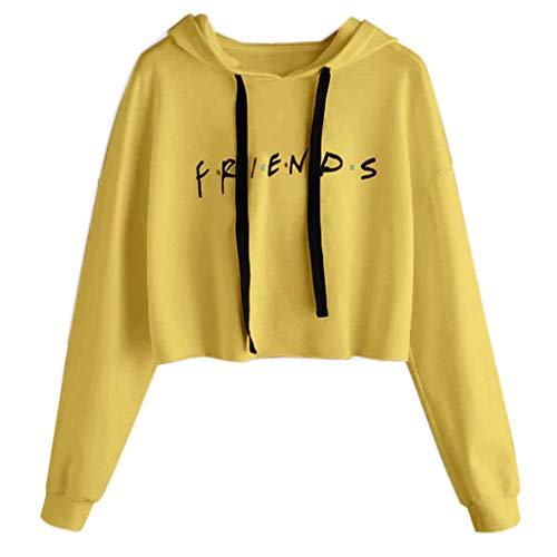 Mentin Sweat-Shirt Femme Lettre F.r.i.e.n.d.s imprimée Crop Tops Hoodies (Jaune, S)